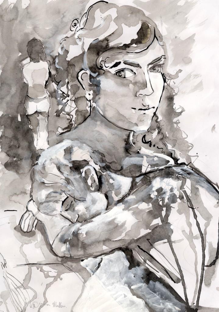 """Draft Image for unpublished Media Novel, """"Idle in September,"""" Diana Mueller, 2012"""